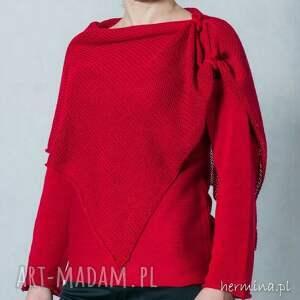 swetry sweter z-szalem czerwony z szalem