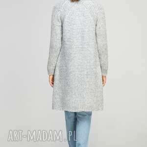 swetry ciepły długi, sweter, swe112 szary