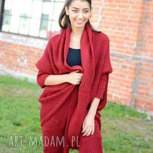 swetry asymetryczny długi, gruby damski zimowy