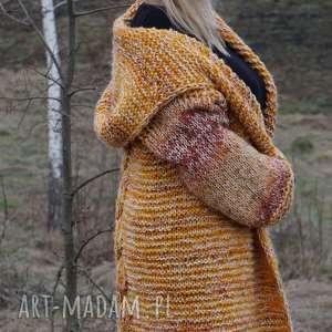 """swetry kaptur długi wełniany płaszcz """"jesienna"""