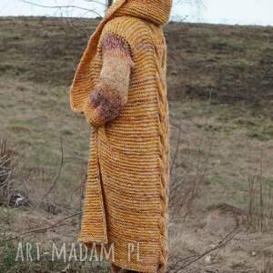 """płaszcz swetry pomarańczowe długi wełniany """"jesienna"""