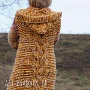 """kaptur swetry długi wełniany płaszcz """"jesienna"""