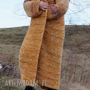 """handmade swetry kaptur długi wełniany płaszcz """"jesienna"""