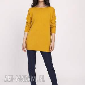 pomarańczowe swetry sweter dzianinowa bluzka, swe121 musztarda