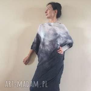 wełna białe elegancki asymetryczny sweter