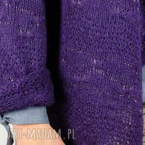 swetry: fioletowy sweter ze złotą nitką - lureks
