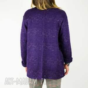 handmade swetry lureks fioletowy sweter ze złotą