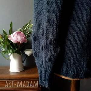 swetry mohairowy sweterek granatowy - kid mohair