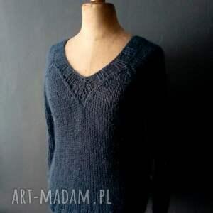 handmade sweter granatowy sweterek - kid mohair