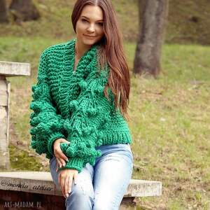 kardigan swetry grassy green bomber