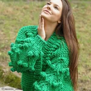 efektowne swetry kardigan grassy green bomber
