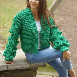 swetry kardigan grassy green bomber