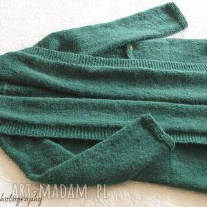 modne swetry kieszenie szmaragdowy kardigan