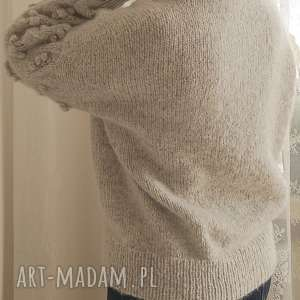 handmade swetry wełniany jasno szary bomberek