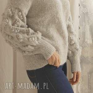 wełniany swetry jasno szary bomberek