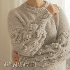 swetry wełniany jasno szary bomberek