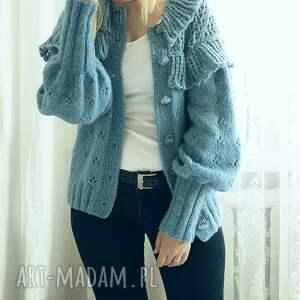 swetry ażurowy kardigan z falbankami