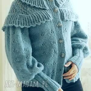 ażurowy swetry kardigan z falbankami