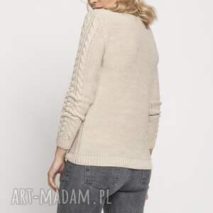 handmade swetry klasyczny sweterek, swe186 beż