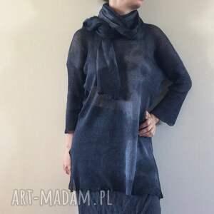 intrygujące swetry sweter lniany czarny z kapką