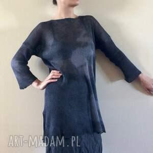 tunika swetry lniany czarny sweter z kapką