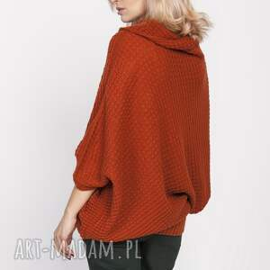 ciekawe swetry sweter luźny, swe205 rudy mkm