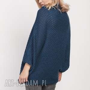niepowtarzalne swetry luźny sweter, swe205 morski