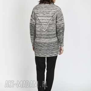 LANTI urban fashion swetry: Melanżowy kardigan, SWE102 beż/czarny - beż sweter