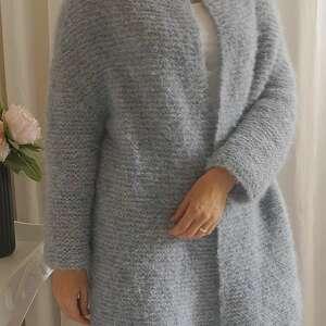 wełniany swetry niebieski kardigan