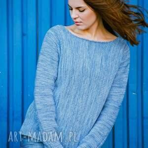 niebieskie swetry wełna niebieski melanżowy sweter z kominem