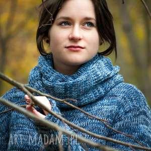 niepowtarzalne swetry sweter-z-kominem niebieski melanżowy sweter