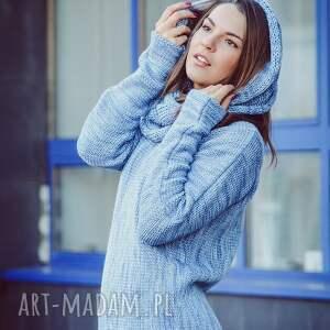 niepowtarzalne swetry wełna niebieski melanżowy sweter
