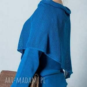 swetry bawełna niebieski sweter z szalem