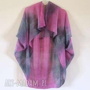 swetry len oryginalny lniany fraczek róż&szarość
