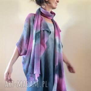 swetry sweter oryginalny lniany fraczek róż&szarość