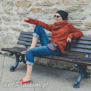 swetry melanż pomarańczowy melanżowy sweter