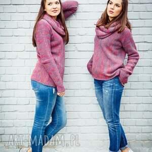 sweter swetry szare różowo-szary melanżowy