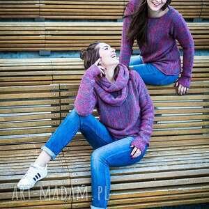 swetry sweter różowo-szary melanżowy