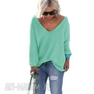 frywolny swetry turkusowe sexy serek sweterek:)