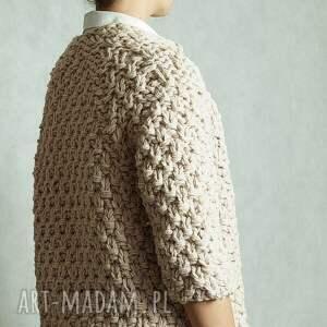 handmade swetry gruby short beige chunky