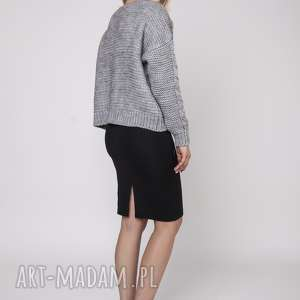 swetry gruby sweter bez zapięcia, swe150 szary