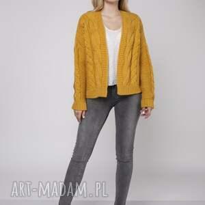 handmade swetry gruby sweter bez zapięcia, swe150 żółty
