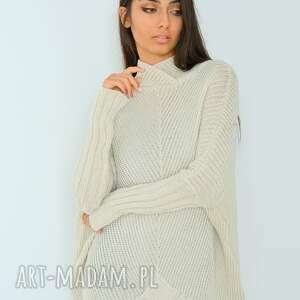 hand made swetry dzianina sweter damski szeroki z golfem