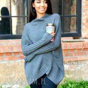 niepowtarzalne swetry sweter-grafitowy sweter damski szeroki z golfem