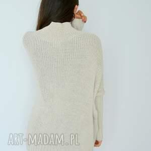 swetry: Sweter damski szeroki z golfem nietoperz ecru ponczo