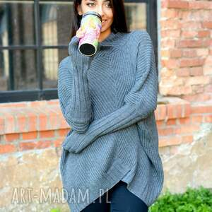 sweter z-golfem damski szeroki z golfem