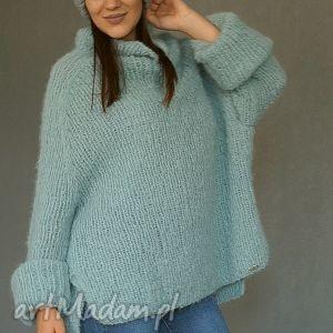swetry: Sweter oversize w bladej morskiej zieleni - golf