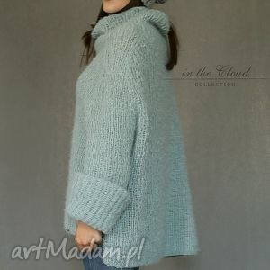 ręczne wykonanie swetry sweter oversize w bladej morskiej