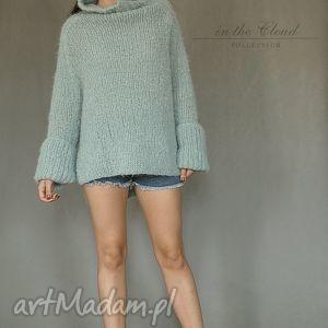 ręczne wykonanie swetry golf sweter oversize w bladej morskiej