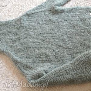 hand made swetry sweter oversize w bladej morskiej